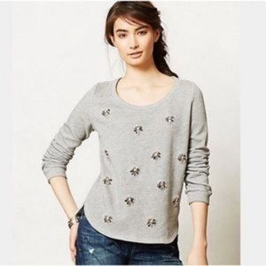 Anthropologie Lilka Gray jewel sweatshirt L